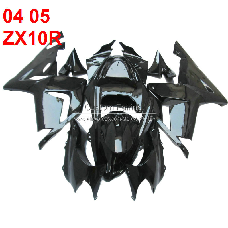 100% new body kit For Kawasaki ZX10R 2004 2005 Ninja black 04 05 fairing kit fairings [xl124]