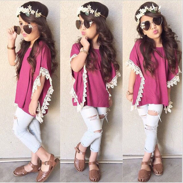toddler girl clothing 1Set Kids Baby Girls Outfits T-shirt Tops+ Denim Jeans Pants kids clothes girls ropa mujer great