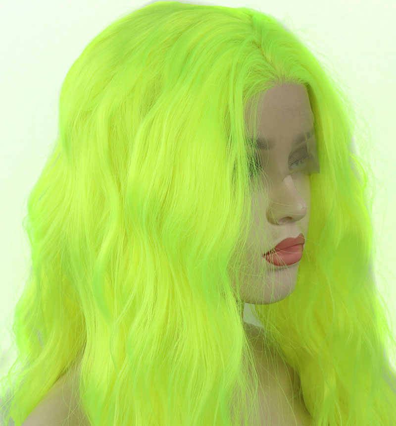 Bombshell Light Green Natural Wave Synthetic Hand Tied Lace Front Wig Heat Resistant Fiber Hair Natural Hairline For White Women