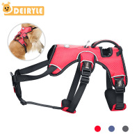 Large Dog Harness Outdoor Reflective Adjustable Vest with Durable Handle and Leash Ring for Medium Large Dogs Training Hiking