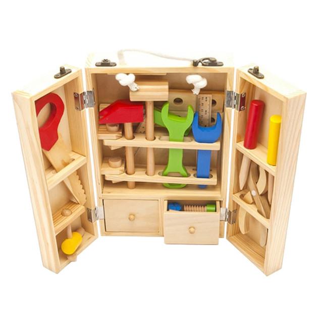 Bebé juguetes para niños de madera multifunción conjunto de herramientas caja de caja de mantenimiento bebé de juguete de madera combinación de tuerca Chirstmas / regalo de cumpleaños