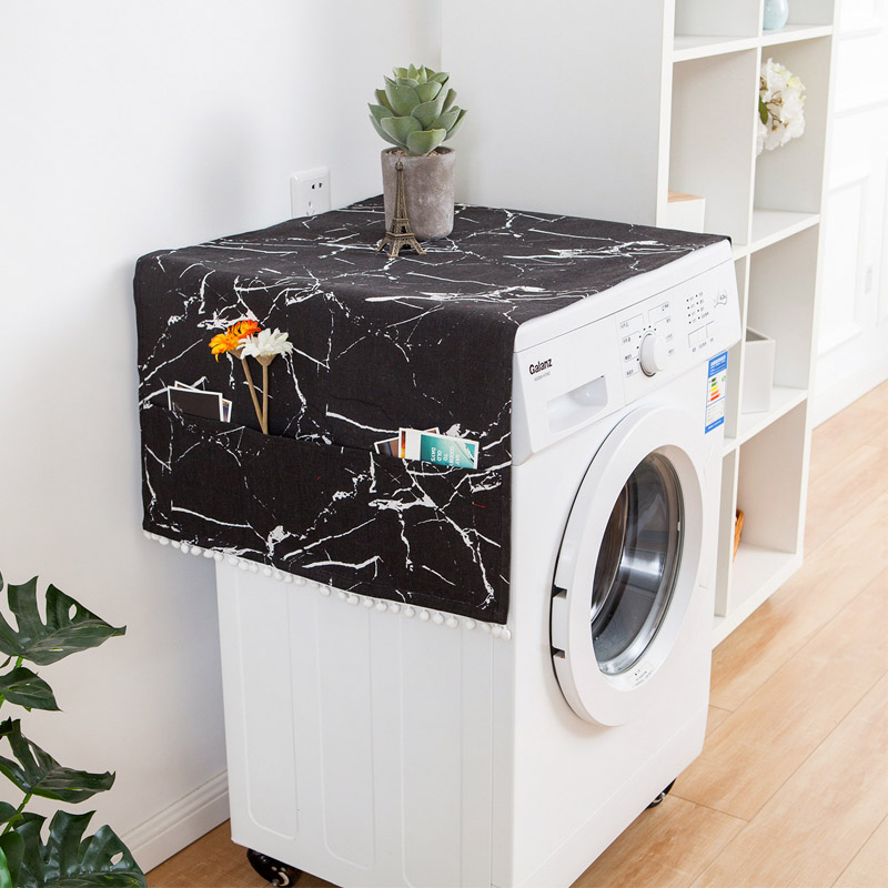 Marble Pattern Refrigerator Cloth Single Door Refrigerator Dust Cover  Double Open Washing Machine Microwave Oven Cover Towel