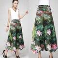 2017 New Women Loose Culottes Pants Vintage Flower Print Wide Leg Pants High Waist Plus Size Woman Pantalones Trousers 13 Color
