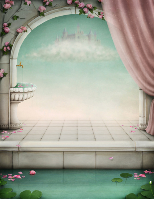Fairy tale arch printed newborn baby photo backdrops art fabric backdrop for studio children photography backgrounds
