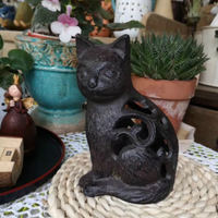 Hollow Cast Iron Cat Ornament Candlestick Exotic Southeast Asian Amorous Feeling Metal Figurines Retro Rural Home Decorative Cat