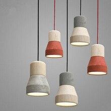 Creative Simple Single Head LED Wood Pendant Light  E27 Bulb Pendant Lamp for Dinning Room Living Room Corridor cement lighting