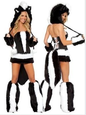 Animal Panda fausse fourrure DS chanteur Costume femmes Halloween fantaisie fête robe carnaval Sexy Cosplay tenues 80360