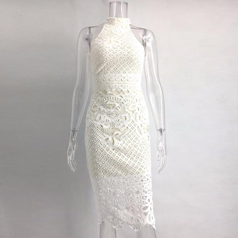 121a231a6696 Joyfunear White Dress 2018 Women Hollow Out Sleeveless Sexy Bodycon Dress  Elegant Skinny Floral Pattern Lace Dresses Vestido