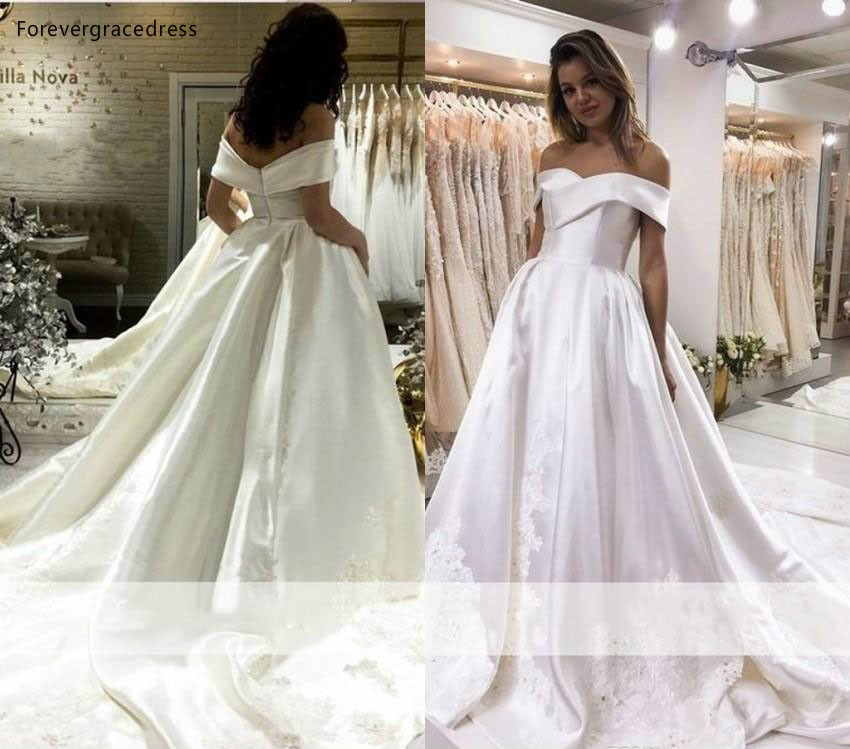 US $150.45 49% OFF Spring Summer Wedding Dresses 2019 Beautiful A Line Off  The Shoulder Country Garden Bride Bridal Gowns Plus Size Custom Made-in ...