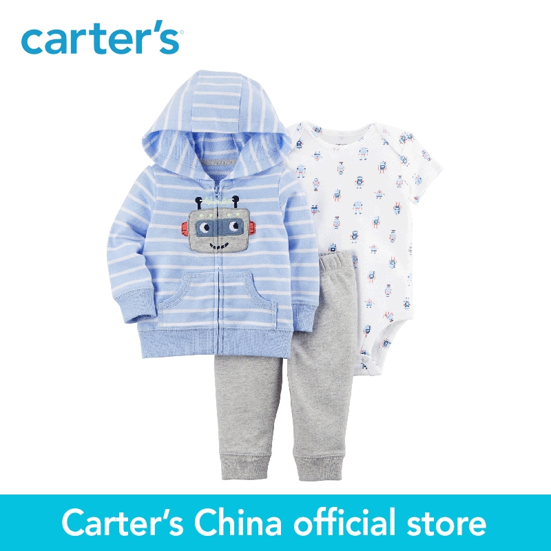 Carter's 3-Piece baby children kids clothing Boy Spring & Fall Cotton cute robot print Little Jacket Set 121I377 baby s cute floral pattern two way pur cotton spring fall cloak w hood deep blue