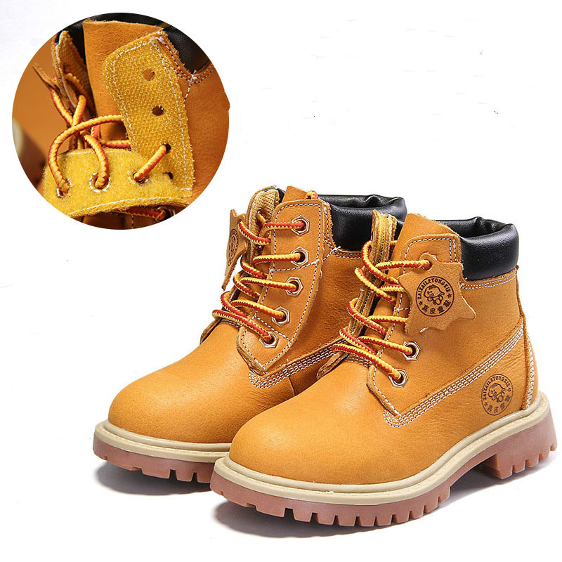 ФОТО autumn fashion children genuine leather kids boots high quality boys cotton shoes ankle martin boots flat non-slip girls boots