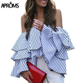 Elegant Off Shoulder Striped Crop Top Women Blouses Casual Butterfly Sleeve Cropped Shirt Fashion 2017 Cool Gilrs Blouse Blusas