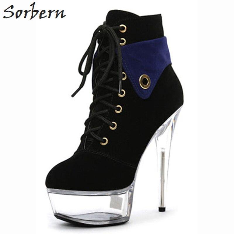 Sorbern Black Flock Ankle Women Boots Lace Up 15cm Heels Round Toe Boots Women Winter Spike Heels Fashion Ladies Party B