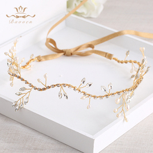 Bavoen Wedding Handmade Gold Hairbands Brides Korean Soft Rhinestone Tiara Headwear Crystal Hair Jewelry