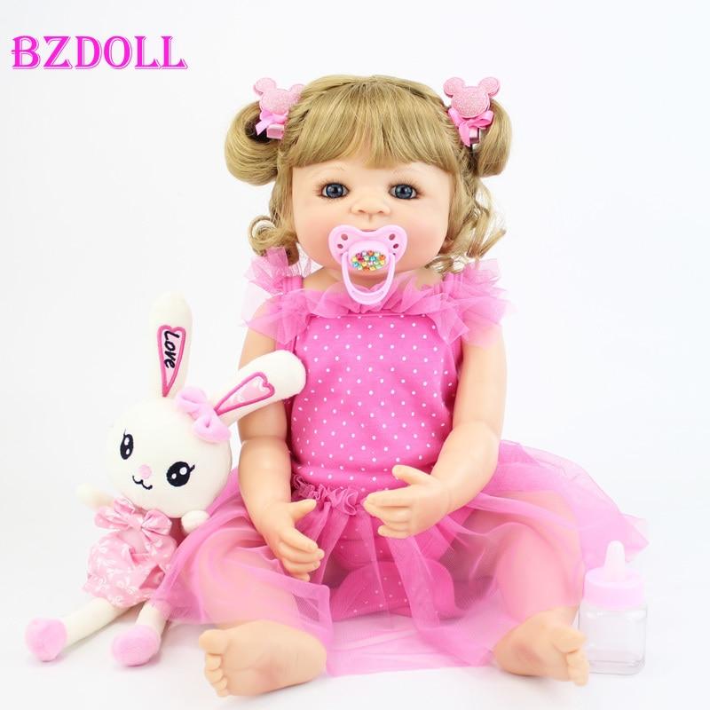 55cm Full Silicone Body Blonde Reborn Baby Doll Toy Vinyl Newborn Princess Toddler Babies Bebe Girl