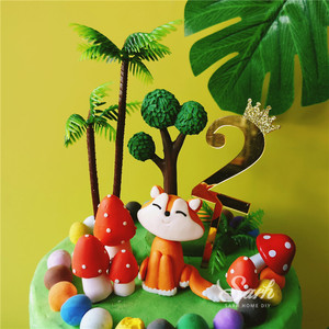 Image 3 - Sitting Fox Mushrooms House Cake Toppers Boy Girl Birthday Dessert Decoration for Childrens Day Party Supplies Lovely Gifts