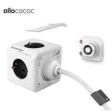 Allocacoc الاتحاد الأوروبي التوصيل 1.5/3M تمديد الحبل Powercube قطاع الطاقة الكهربائية 4 منفذ 2 منافذ USB محول السفر قابس متعدد استخدام المنزلي