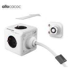 Allocacoc האיחוד האירופי Plug 1.5/3M הארכת כבל Powercube כוח רצועת חשמלי 4 לשקע 2 יציאות USB נסיעות מתאם רב שקע בית שימוש