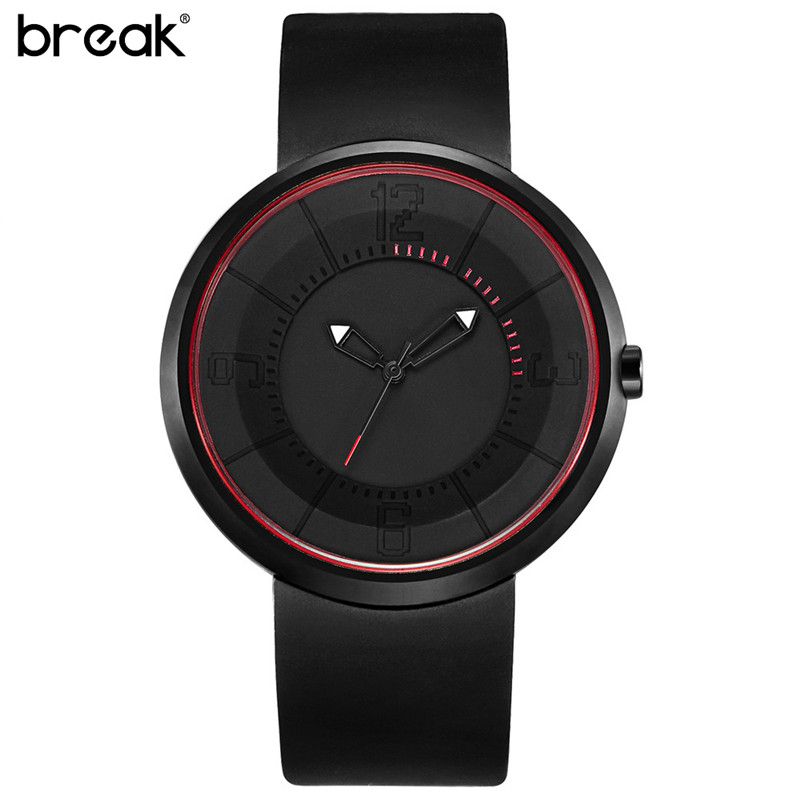 2017 Fashion Break Mens Women Top Brand Sports Analog Quartz Wrist Watch Creative Unique Silicone Band Strap Men Watches as Gift paidu fashion unique brand black silver quartz metal mesh band wrist watch mens boy turntable dial digital gift wristwatches