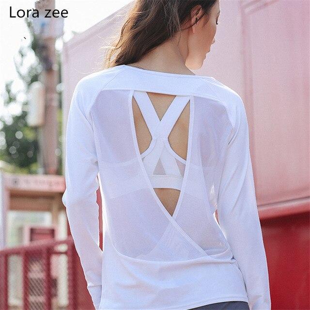 a83f1cd018bcf1 LORA ZEE Backless Long Sleeve T Shirt Women Loose Fit Cute White Yoga Top  Black Fitness Sport Shirt Romantic Gym Top