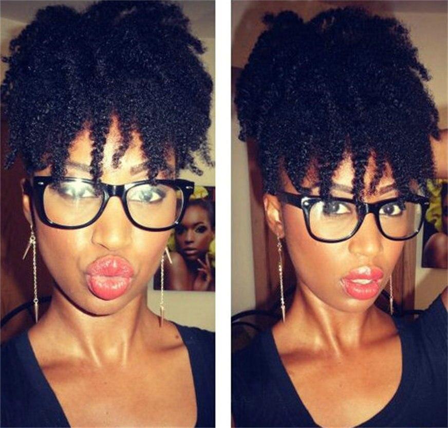 Jet Black Short 4C Afro Kinky Curly Human Hair Drawstring -4330