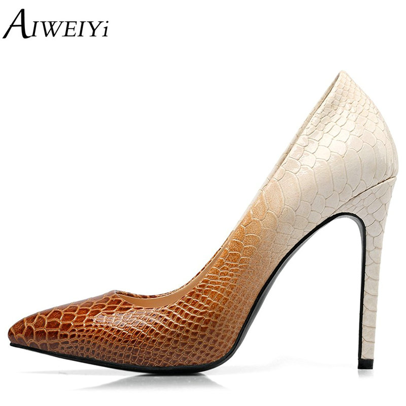 AIWEIYi Brand Shoes Woman Stiletto High Heels Bridal Shoes Sexy Women Shoes High Heels Designer Women Pumps 10CM Stiletto Heels aiweiyi women s pumps shoes 100