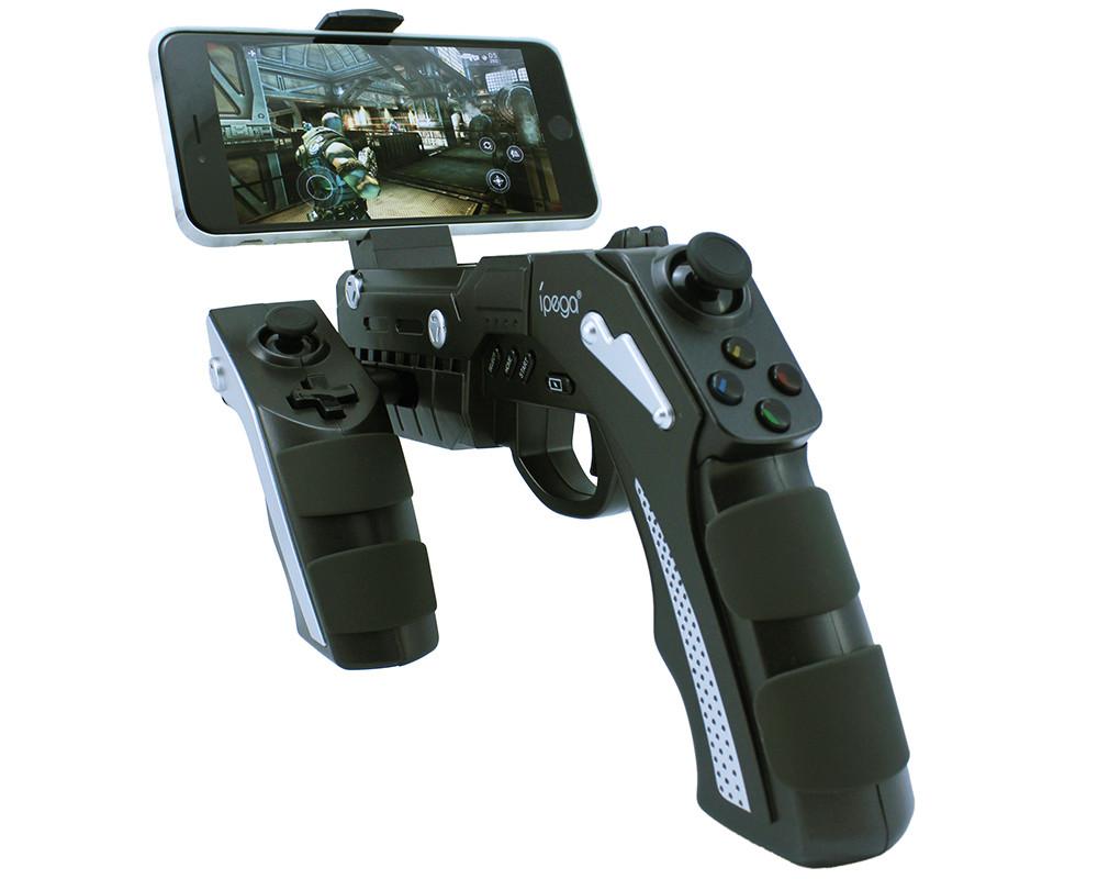 Prix pour D'origine ipega 9057 pg-9057 gun style sans fil bluetooth game controller joysticker gamepad combiné pour téléphone portable tablet tv box