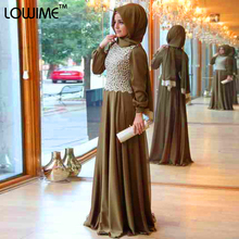 2015 Islamic Dresses With Hijab Abaya Fancy Lace Gowns Women And Girl Long Sleeve Muslim Evening Dress Party Elegant Abiyeler