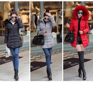 Image 5 - Chaqueta con capucha de piel para mujer, abrigo fino de algodón, abrigo elegante informal de manga larga para mujer, gran abrigo de piel, Parka de talla grande 4XL 2019