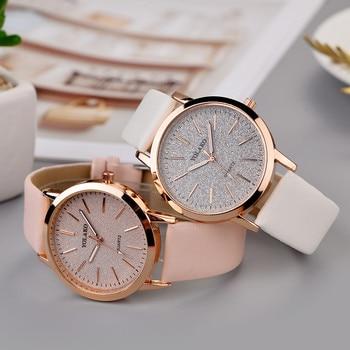 Top Brand High Quality Fashion Womens Ladies Simple Watches Geneva Faux Leather Analog Quartz Wrist Watch clock saat Gift Переносные часы