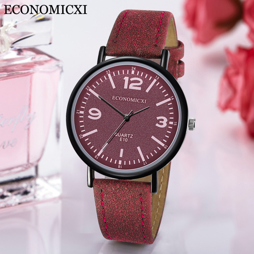 Vintage Matte Leather Strap Watches Women Casual Quartz Wrist Watch For Girls Ladies Gift Clock Gmt Orologio Donna Bayan Saat *A