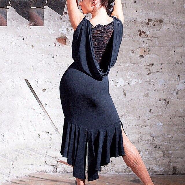 숙녀를위한 최신 라틴 댄스 드레스 블랙 색상 민소매 내구성 스커트 착용 여성 현대 볼룸 드레스 패션 B013