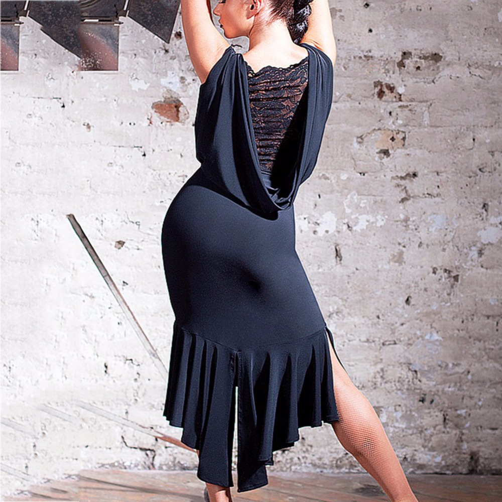 Latest Latin Dance Dresses For Ladies Black Colors Sleeveless Durable Skirts Wears Women Modern Ballroom Dresses Fashions B013-in Latin from Novelty & Special Use