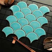 Рыбная шкала кирпичный вентилятор мозаика сплошной цвет зонтик фон Настенная Ванная комната плитка душ Нескользящая напольная плитка