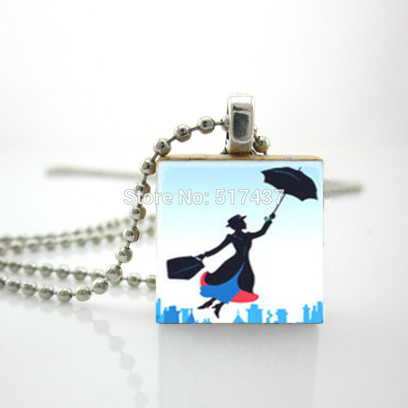 2015 New Personalized Jewelry Mary Poppins Pendant Mary Poppins Umbrella Scrabble Tile Jewelry