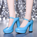 Onlytruelove 2017 New Arrival Woman Fashion Pump 10cm Super High Heels Round Toe Crystal Party Shoes Lace Up Big Size:43 Zapatos