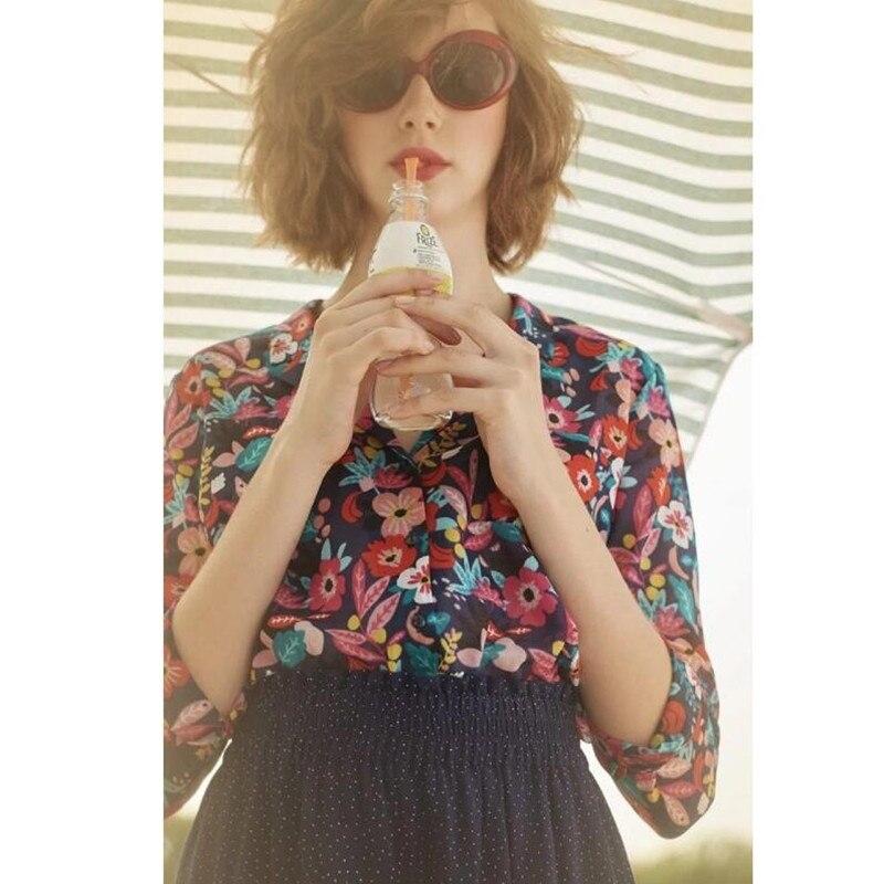 Kobiety z długim rękawem skręcić w dół kołnierz kwiatowy i liść drukuj słodkie świeże kolorowe bluzka bluzka koszula w Bluzki i koszule od Odzież damska na  Grupa 1