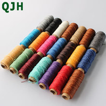 Купить с кэшбэком QJH Durable 1mm 150D Leather Waxed Thread Cord for DIY Handicraft Tool Hand Stitching Thread  50 Meters Flat Waxed Sewing Line