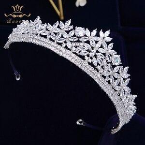 Image 5 - Bavoen di Alta Qualità Reale Zircone Scintillante Sposa Diademi Corona Nuziale di Cristallo Hairbands Copricapo Da Sposa Accessori Per Capelli