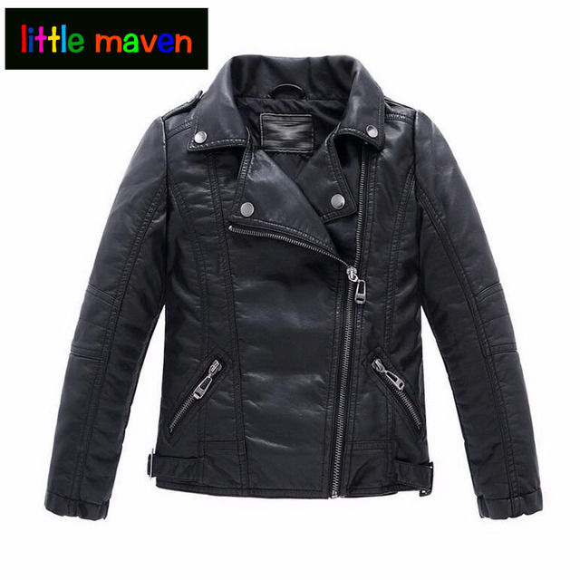 3168cef25fc50 Baby Boys Girls Faux Leather Jacket Kids Clothes Coats Spring Jackets Boys  Casual Black Red Solid Children Outerwear 2017