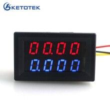 Цифровой вольтметр, амперметр, 200 в, 0-10 А, красный, синий, светодиодный, двойной дисплей для 12 В, 24 В, автомобильный монитор напряжения тока, не нужен внешний шунт