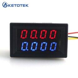 Цифровой вольтметр Амперметр постоянного тока, 200 в, 0-10 А, красный, синий светодиод, двойной дисплей для 12 В, 24 В, автомобильный монитор напряж...