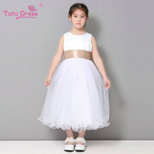 Flower Girl / Junior Bridesmaid White Curl Princess Dress