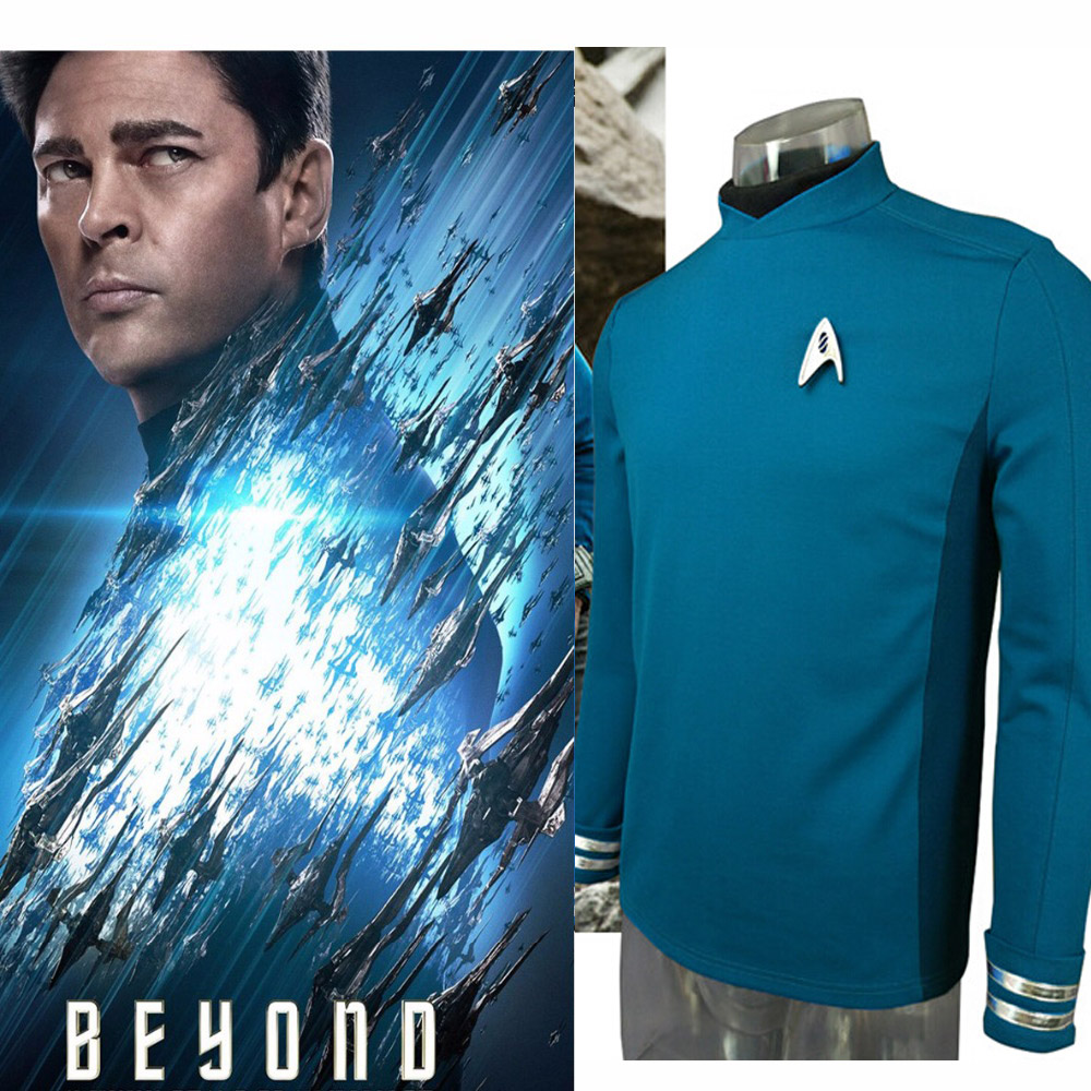 Hero Catcher High Quality Star Trek Beyond Spock Cospaly Costume Star Trek Uniform Blue Shirt Adult