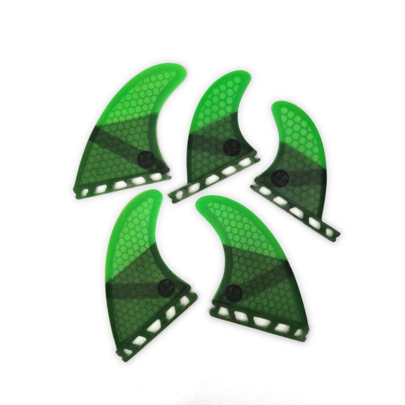 Tri-quad fin set Avenir G5 + GL ailettes planche de surf ailettes vert aileron de surf En Nid D'abeille En Fiber De Verre