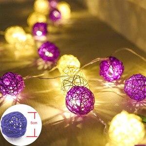 Image 5 - YIMIA 5cm kulki rattanowe LED łańcuch świetlny świąteczne lampki świąteczne zewnętrzna girlanda Gerlyand na wesele dekoracja do pokoju dziecięcego dla dzieci