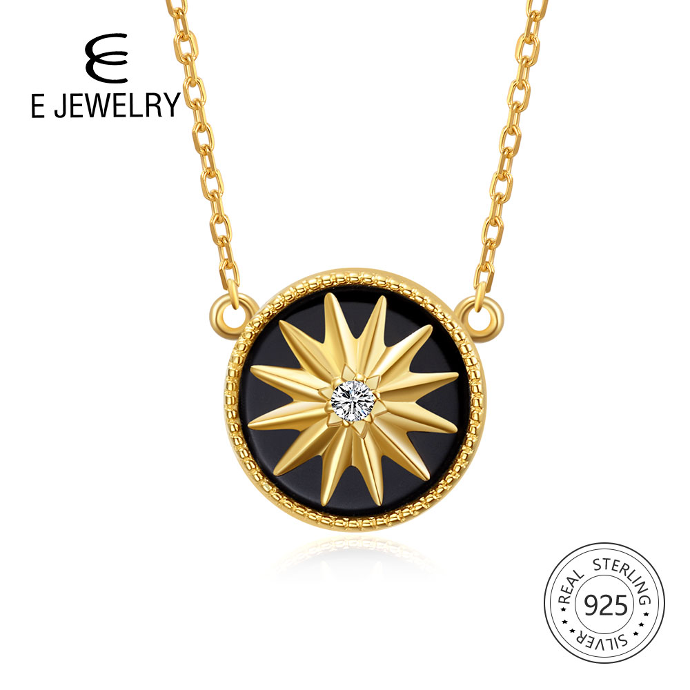 E Jewelry 925 Sterling Silver Pendant Necklace for Women Exquisite Round Black Star Gold Plated Chain Necklaces Long Maxi ChokerE Jewelry 925 Sterling Silver Pendant Necklace for Women Exquisite Round Black Star Gold Plated Chain Necklaces Long Maxi Choker