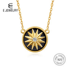 E Jewelry 925 Sterling Silver Pendant Necklace for Women Exquisite Round Star 18K Gold Plated Agate Chain Necklaces Long Choker panama pendant necklace for women men 18k yellow gold plated jewelry map of panama necklaces 005105