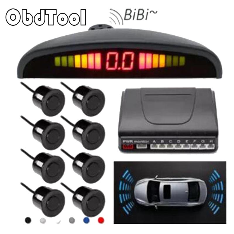 ObdTool Car Parking Sensor With Digital LED display & 8 Front Or Rear Radar Sensors For Reversing Backup Parking Assistance 1Pcs park pilot parking front and rear 8 sensors update 8k pdc ops for skoda mqb octavia