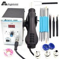 Mypovos plug ue 220 v 700 w estação de solda retrabalho termorregulador ferro de solda ar quente desoldering arma ferramenta de solda kit